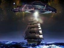 Zeilboot en UFO stock illustratie