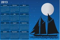 Zeilboot in maanlicht Stock Afbeelding