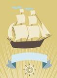 Zeilboot met banner voor uw bericht Royalty-vrije Stock Foto's
