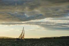 Zeilboot met Volledig Zeil bij Zonsondergang op Puget Sound royalty-vrije stock foto's