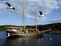 Zeilboot in Noorse fjord stock foto's