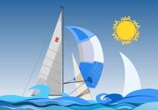 Zeilboot op de zonnige dag Stock Foto