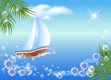 Zeilboot, palm, wolken en zon. vector illustratie