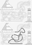 Zeilbootlabyrint stock illustratie