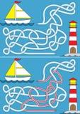 Zeilbootlabyrint royalty-vrije illustratie