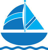 Zeilbootreis Logo Clip Art Blue Royalty-vrije Stock Foto's