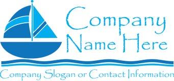 Zeilbootreis Logo Template Clip Art Blue Royalty-vrije Stock Afbeelding