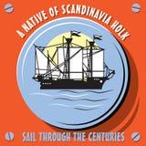 Zeilbootschip een Inwoner van Scandinavië Holk Stock Foto