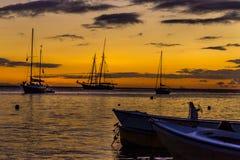 Zeilboten bij zonsondergang op de Caraïben, Vieques-Eiland, Puerto Rico Royalty-vrije Stock Foto's