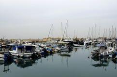 Zeilboten in de haven van Oude Jaffa. Tel Aviv Royalty-vrije Stock Foto