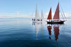 Zeilboten die over Meer Taupo Nieuw Zeeland varen royalty-vrije stock foto's