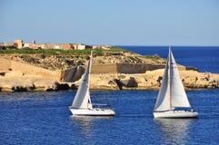 Zeilboten, Malta Stock Fotografie