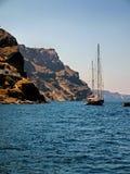 Zeilboten in Santorini Royalty-vrije Stock Afbeelding