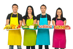 Zeile der Marktarbeitskräfte mit ihren Produkten Lizenzfreie Stockbilder