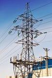 Zeile der Stromübertragung Stockbild