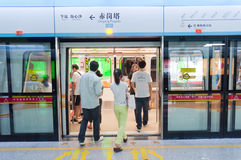 Zeile der Untergrundbahn APM in Guangzhou Lizenzfreie Stockfotos
