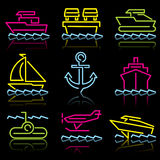Zeile Ikonenwassertransport Lizenzfreie Stockbilder