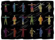 Zeile Kunst-Leute-Piktogramme Lizenzfreies Stockbild