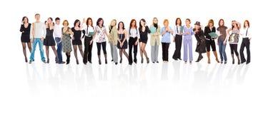 Zeile mit 21 Leuten Stockbilder