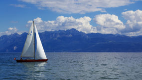 zeilen bij het Meer van Genève Stock Fotografie