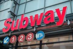 Zeilen der New- Yorkuntergrundbahn 1.2.3 Stockfotografie