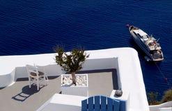 Zeilen in Santorini Royalty-vrije Stock Afbeeldingen