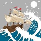 Zeilschip in sterk onweer in de avond in de oceaan of het overzees onder de maan vector illustratie