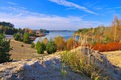 Zeischaer sjö, landskap i Lusatia Royaltyfri Foto