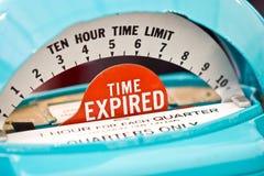Zeit-abgelaufener Indikator auf einer Parkuhr. Lizenzfreie Stockfotografie