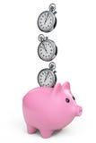 Zeit-Abwehr-Konzept. Sparschwein mit Stoppuhr Lizenzfreie Stockbilder