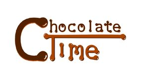 Zeit- brauner Text Chcolate auf einem weißen Hintergrund vektor abbildung