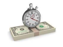 Zeit 3d ist geld- Stoppuhr auf US-Dollars Lizenzfreie Stockbilder