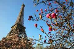 Zeit des Eiffelturms im Frühjahr Stockfotografie