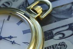 Zeit - ein Geld Blauer Ton Abschluss-oben - Archivbild Lizenzfreie Stockbilder
