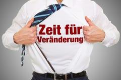 Zeit fà ¼ r Veraenderung op overhemd Stock Afbeeldingen