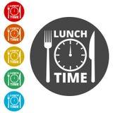 Zeit für das Mittagessen, flache Mittagspauseikone stock abbildung