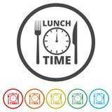 Zeit für das Mittagessen, flache Mittagspauseikone, 6 Farben eingeschlossen lizenzfreie abbildung