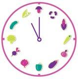 Zeit für die gesunde Nahrung getrennt auf Weiß Lizenzfreie Stockbilder