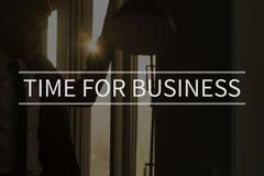 Zeit für Geschäftstext über Begriffsgeschäftsszene Stockbild