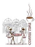 Zeit für Kaffee, der Hintergrundvektor Stockbilder