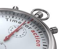 Zeit für Tätigkeit. Stoppuhr auf weißem Hintergrund Stockfotos