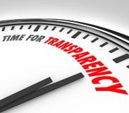 Zeit für Transparenz-Klarheits-ehrliche gerad Uhr Stockfotos
