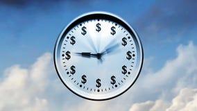 Zeit fliegt (Uhr im Himmel) stock video
