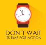 Zeit für Aktion und warten nicht Stockbild