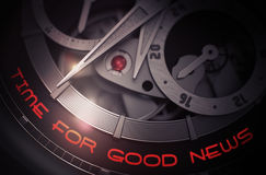 Zeit für gute Nachrichten auf Luxusmann-Armbanduhr-Mechanismus 3d Stockfotos