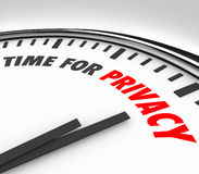 Zeit für Privatleben-Uhr schützen persönliche vertrauliche Information DA Lizenzfreie Stockfotografie