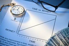 Zeit-Geld-Arbeits-Schwerpunkt Stockbild