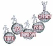 Zeit, Ihre Kredit-Geldnehmer zu verbessern, die besser auf Uhr-Sc steigen lizenzfreie abbildung