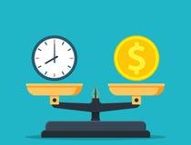 Zeit ist Geld auf Skalaikone vektor abbildung