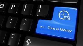 377 Zeit ist Geld bewegende Bewegung auf Computer-Tastatur-Knopf stock video